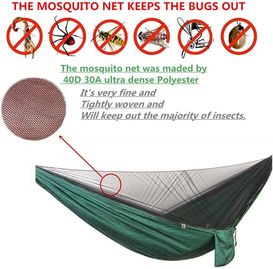 Single /&Double Hammock Lightweight Portable Parachute Nylon Hammock for Camping,Backpacking,Survival,Travel /& More 1//2 Person Camping Hammock with Mosquito//Bug Net