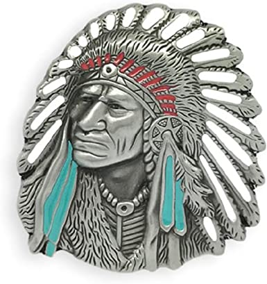 KeCol Unisex Native American Chief Cacique Head Indian Feather Belt Buckle