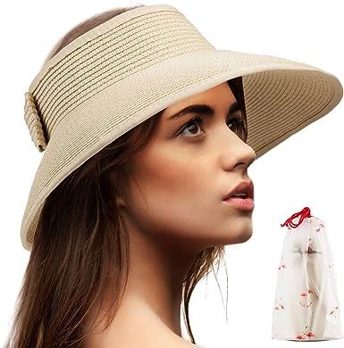 Fashion Women Wide Brim Straw Roll up Hat Beach Sun Hat ILOE