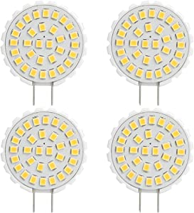 Dimmable LED G8 Bulbs 3.5W 3000k Soft Warm White Puck Light Sunflower Cabinet Lights Disc Type Under Counter Kitchen Lights Equivalent 25W Bi-Pin Halogen Bulb Microwave Oven Bulb (3.5w 4 Pack)