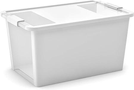 KIS 8454000 0432 01 - Caja de almacenaje, plástico, 40 L, Transparente, Color Blanco: Amazon.es: Hogar