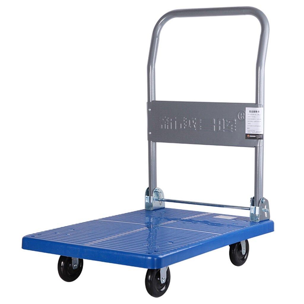 ショッピングカート ハンドトラックフラットベッドトラック折りたたみ式トロリートロリーハンドトラック小型トレーラートラックDray Van Load 100Kg (色 : Blue) B07FKLV4K4  Blue
