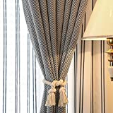 American Hand Knitting Window Curtain Rope,Buckle Holdbacks Tiebacks Rural Cotton Tie-Decorative(One Pair, Beige)