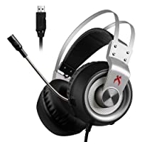 Xiberia USB Gaming headset, K1 PC Headset,Over-ear Gaming Headphones Mic, Crystal Clear Sound, LED Lights & Noise-canceling Microphone PC,Laptop,MAC (Sliver)