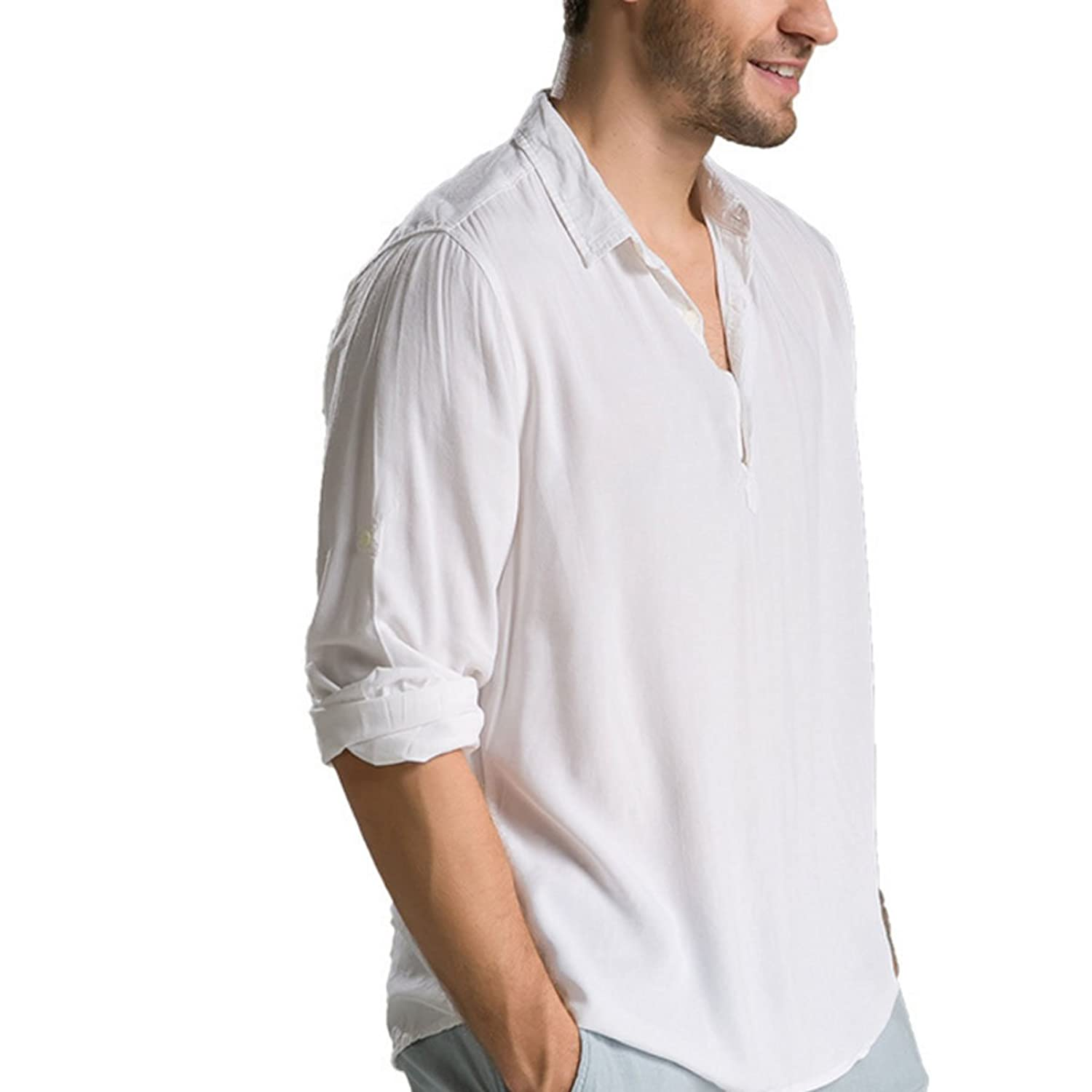 Men 's Summer Long - Sleeved Casual Simple White Shirt