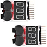 Floureon 2 Packs RC Lipo Battery Monitor Alarm Tester Checker Low Voltage Buzzer Alarm with LED Indicator for 1-8S Lipo LiFe LiMn Li-ion Battery