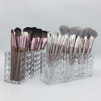 Organizador de brochas de maquillaje acrílico transparente para almacenamiento de cosméticos para baño | Pack de 2: Amazon.es: Belleza