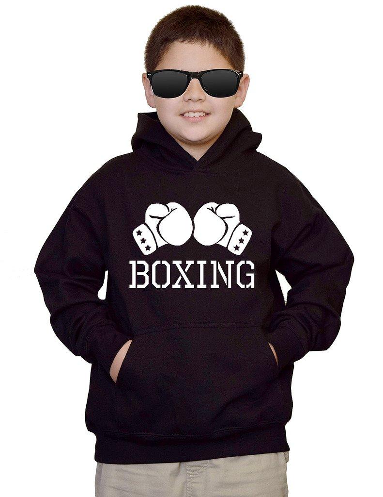Youth Boxing Glove V434 Black kids Sweatshirt Hoodie Large by Interstate Apparel