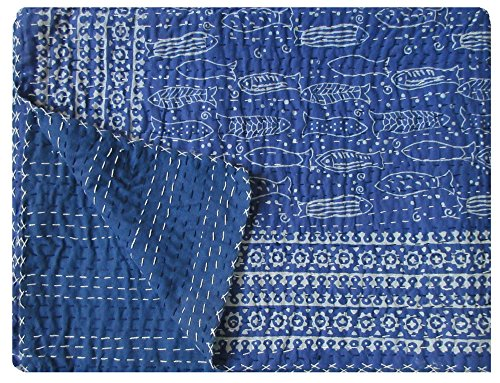 (Twin Size Blue Indigo Kantha Quilt Handmade Indian Cotton Kantha Bedspread Hand Block Print Natural Color Vegitable Dye Kantha Blanket Fish Print Indigo Bed Cover Hand Stitched Picnic Throw)