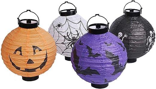 Amazon Com Cgoh 2pcs Lot Halloween Pumpkin Paper Lantern Hanging Glowing Lanterns Ghost Festival Bar Party Decorations Diy Color Purple Home Kitchen