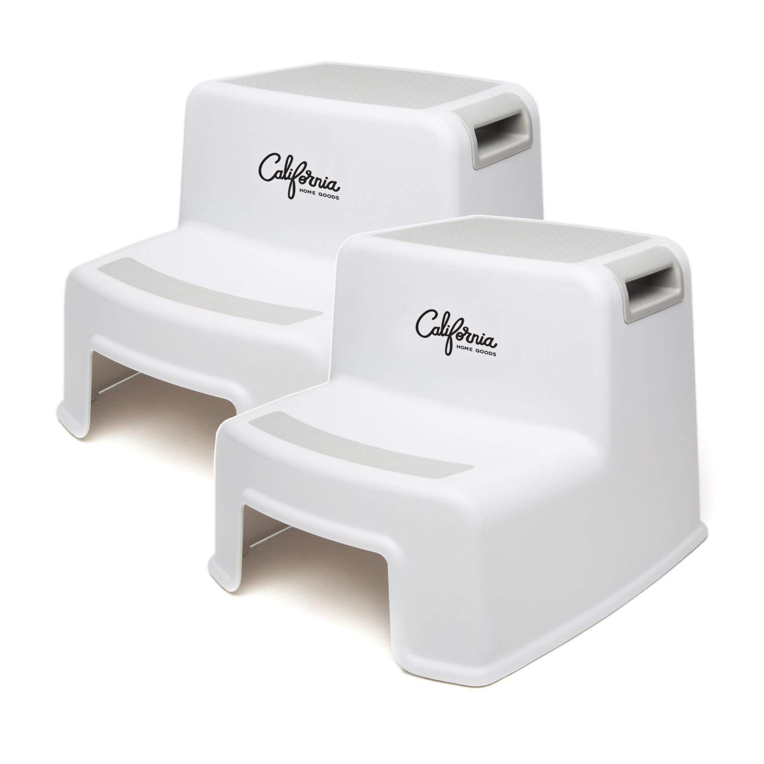 Child Step Stool (2 Pack), 2 Step Stool for Kids, Sturdy Plastic Step Stool for Kids Sink Use & Toilet Training, Toddler Step Stool Bathroom & Kitchen, Slip Resistant Dual Step Children Step Stools by California Home Goods