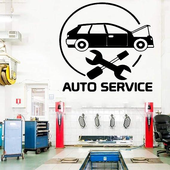 Ajcwhml Belleza Auto Servicio Etiqueta de La Pared de Vinilo Arte Decoración para Taller de Reparación de Automóviles Murales de Vinilo Calcomanías Pegatinas de Pared 43X45CM: Amazon.es: Hogar