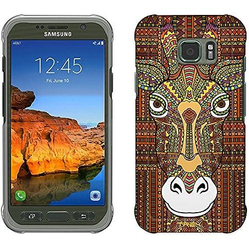 Samsung Galaxy S7 Active Case, Snap On Cover by Trek Aztec Giraffe Head Orange Slim Case Sales