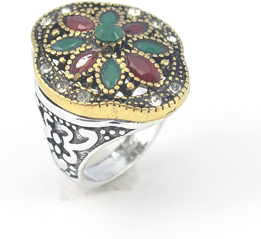 EMERALD RUBY VICTORIAN JEWELRY SILVER PLATED AND BRASS RING 9 S23866