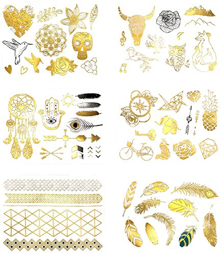 Premium Metallic Temporary Tattoos - 75+ Boho, Artistic, Contemporary Shimmer Jewelry Tattoos - Designs in Gold, Silver and Black (Kayla (Hippie Tattoo Designs)