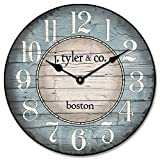 The Big Clock Store Boston Harbor Blue Wall Clock, Available in 8 sizes, Most Sizes Ship 2-3 days, Whisper Quiet.