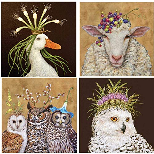 Vicki Sawyer Cocktail Napkins Owl Family Miranda Vineyard Sheep Snow Queen Assorted Variety Pack 40 Total Napkins ()