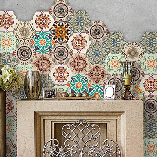 AmazingWall Baroque Style Floor Tiles Sticker Living Room Bedroom Bathroom Waterproof Kitchen Mural Decal 4.53x7.87