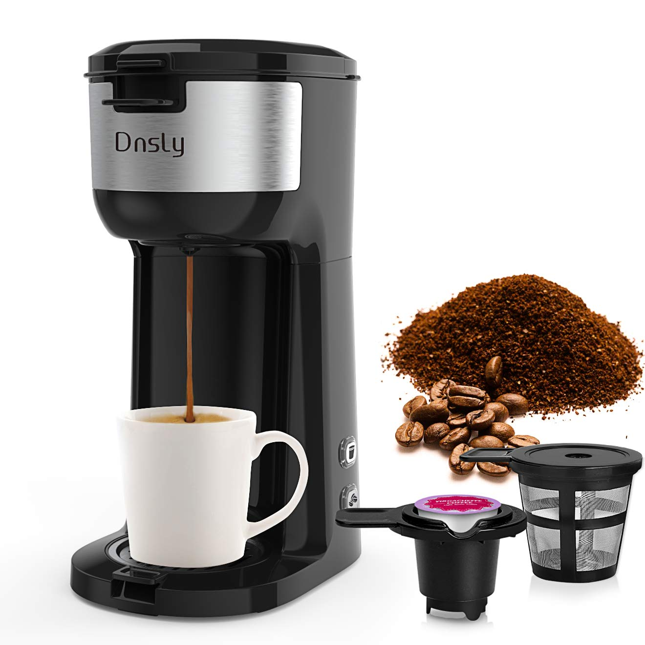 Dnsly Coffee Maker Single Serve, K-Cup Pod & Ground Coffee 2 in 1 Coffee Machine, Strength-Controlled Self Cleaning Function, Advanced Black by Dnsly