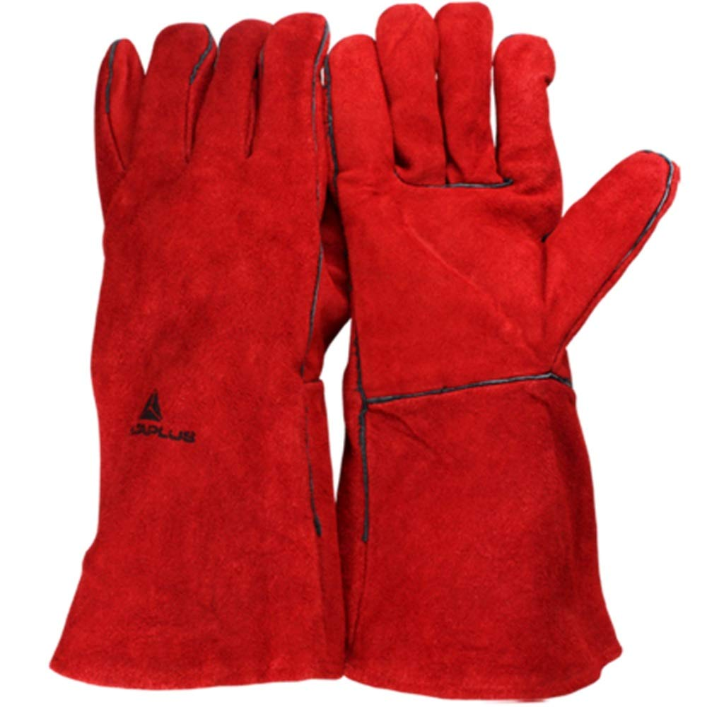 DSWDA Electric Welding Gloves Insulation and Wear-Resistant Welding High Temperature Resistant Gloves Industrial Labor Protection Gloves / 35cmx14cm