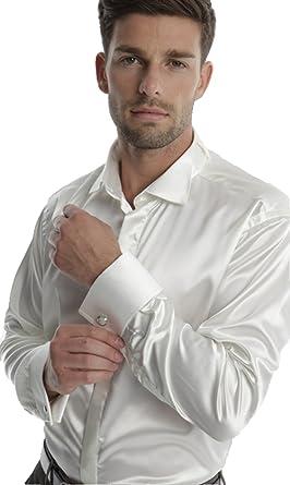 Camisa para Hombre Boda, adimo, Col cassé, satén + para Gemelos Blanc Satin Large: Amazon.es: Ropa y accesorios
