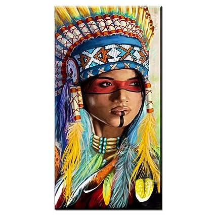 Karen Max Ritratto di Tela Arte Quadri per Soggiorno Indiano Donna ...