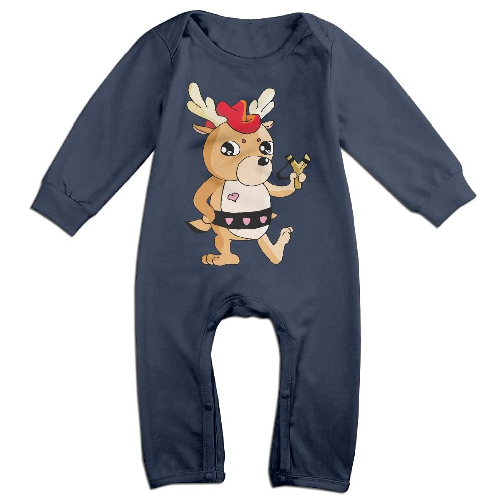 Cartoon Deer Long Sleeve Toddler Boys Girls Jumpsuit Cotton Baby Jumpsuits