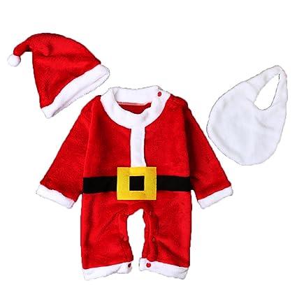 sukisuki Juego de ropa de Navidad, recién nacidos para bebé Pelele de Papá Noel Jumpsuits
