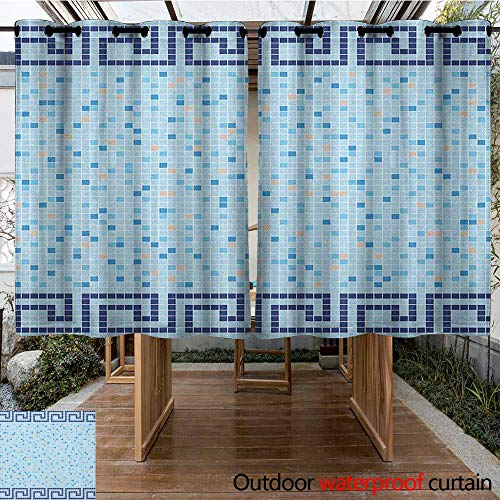 AndyTours Thermal Insulated Blackout Curtains,Aqua,Antique Greek Border Mosaic Tile Squares Abstract Swimming Pool Design,Simple Stylish,K140C115 Pale Blue Navy Blue Beige