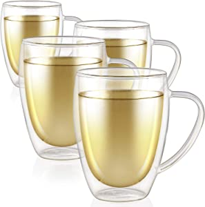 Teabloom Double Walled Mugs - 12 oz / 350 ml – Set of 4 Insulated Glass Mugs for Tea, Coffee, and More – Clear Bliss Collection