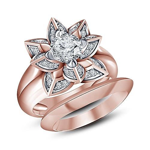 Vorra Fashion flor de loto novia Juego de Anillos de plata de ley 925 Juego de