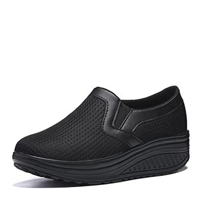 SHAKE Women s Mesh Slip-On Casual Walking Wedges Shoes Breathable Work Out  Sneakers for Women 472e91b42
