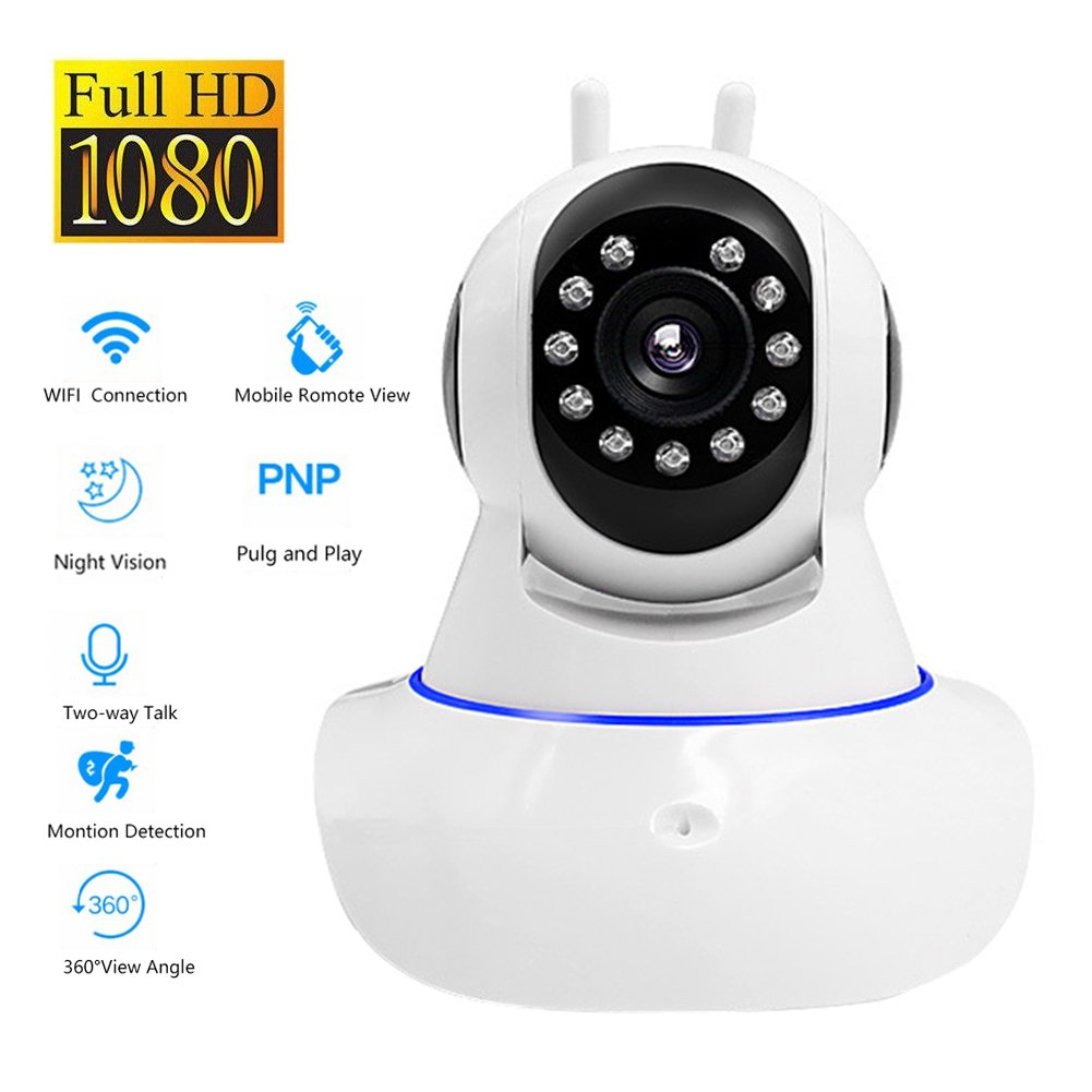 OMZBM 1080P HD Home Security Dome Surveillance Camera 360 Degree PTZ Pan/Tilt APP Remote Intelligent Monitor System With IR Night Motion Detection Two-Way Audio