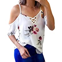 TUDUZ Women's T Shirt Floral Printing Off Shoulder T Shirt Short Sleeve Casual Chiffon Tops Blouse Large White