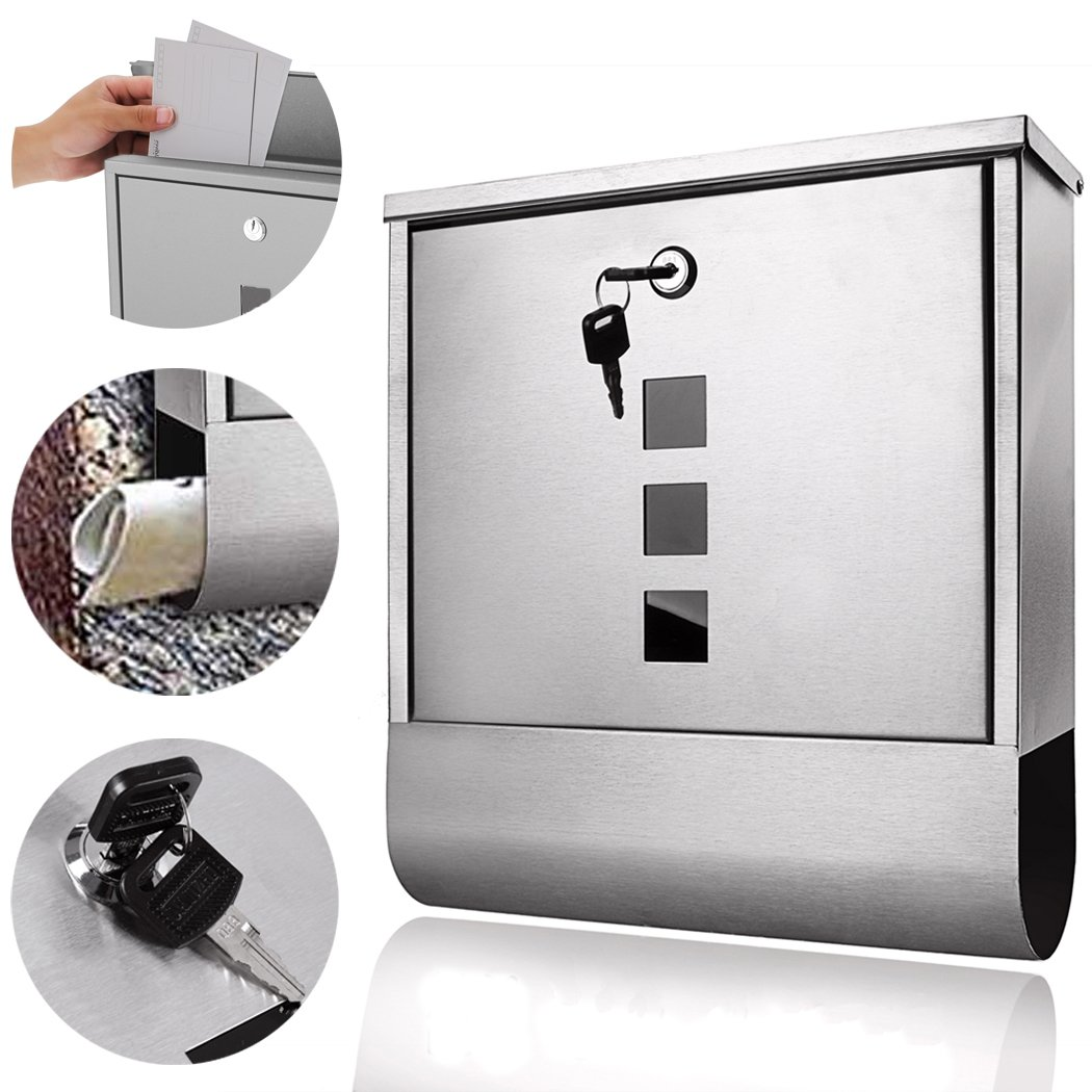 Stainless Steel Wall Mount Lockable Mailbox Vertical Locking Rust Proof Post Box Letterbox with Newspaper Holder for Modern Houses Front Porch Residential Outdoor Rural Roadside (Silver)