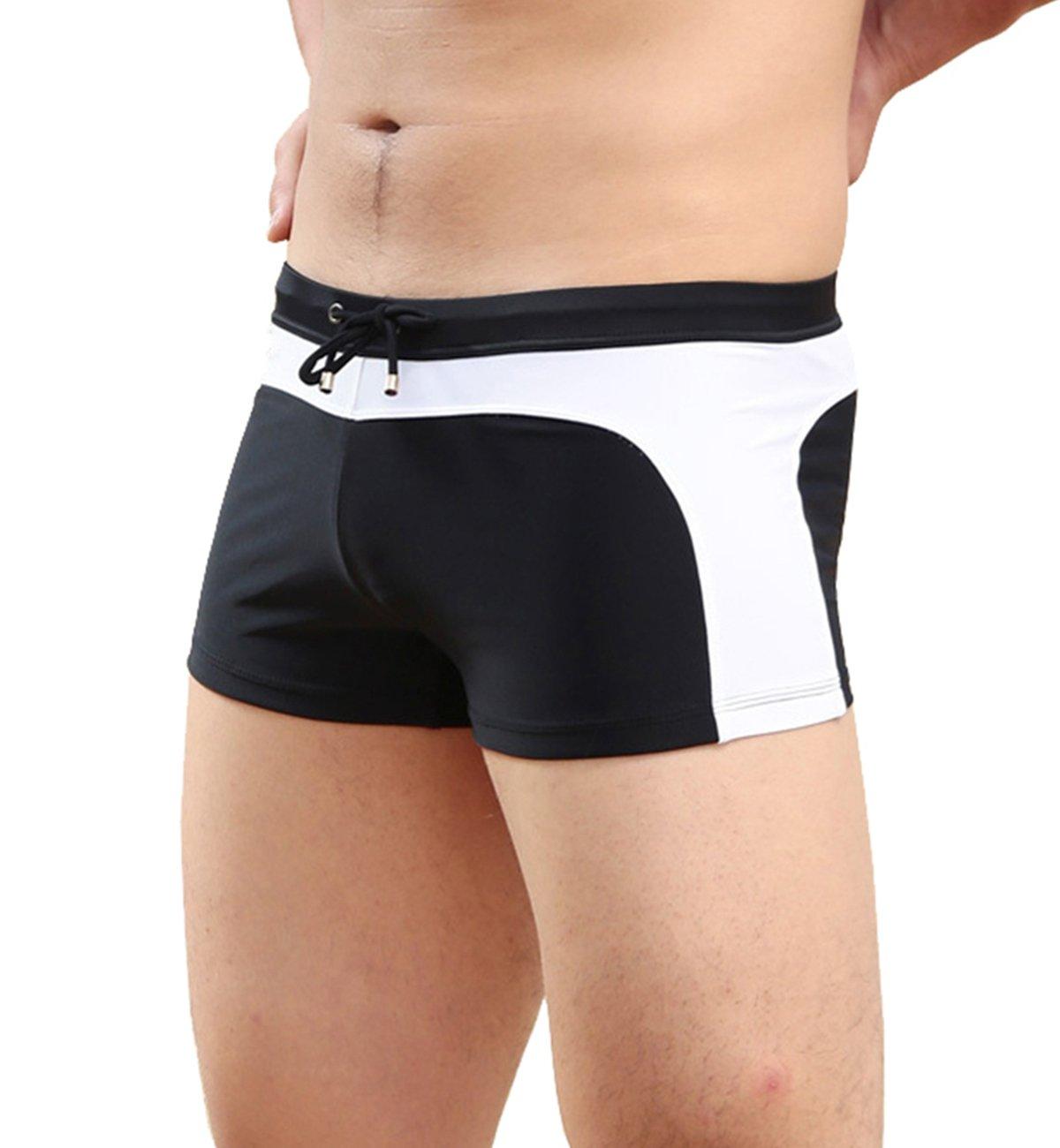 Men's Color Swim Briefs Square Leg Swimwear Trunks Beachwear Shorts