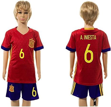Top Venta de España 6 Andres Iniesta Home para niños Kid jóvenes camiseta de fútbol juegos en rojo, Infantil, rojo, medium: Amazon.es: Ropa y accesorios