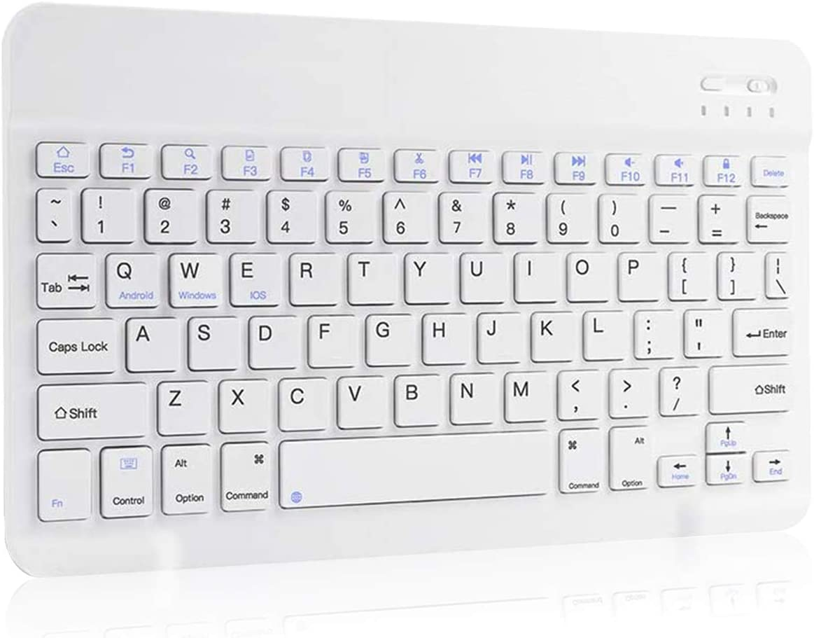 White RGB HKB1992 Universal Slim Portable Wireless Bluetooth Colors Backlit Keyboard with Builtin Rechargeable Battery Automatic Sleep Function with 7-Color Backlight