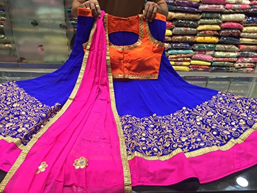 A-Quality-Designer-FULLY-stitched-Lehenga-Choli-Blue-with-Pink-Dupatta-Bottom-40-inches-Hips-Orange-Colour-Blouse-US-Size-1214-Bust-38-40