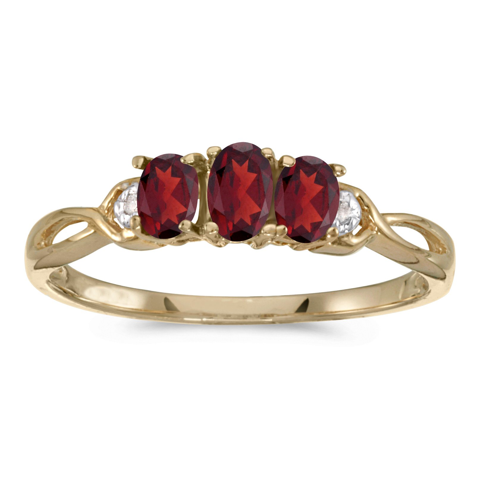 0.61 Carat (ctw) 10k Yellow Gold Oval Red Garnet and Diamond 3 Three Stone Infinity Promise Engagement Fashion Ring (5 x 3 MM) - Size 5