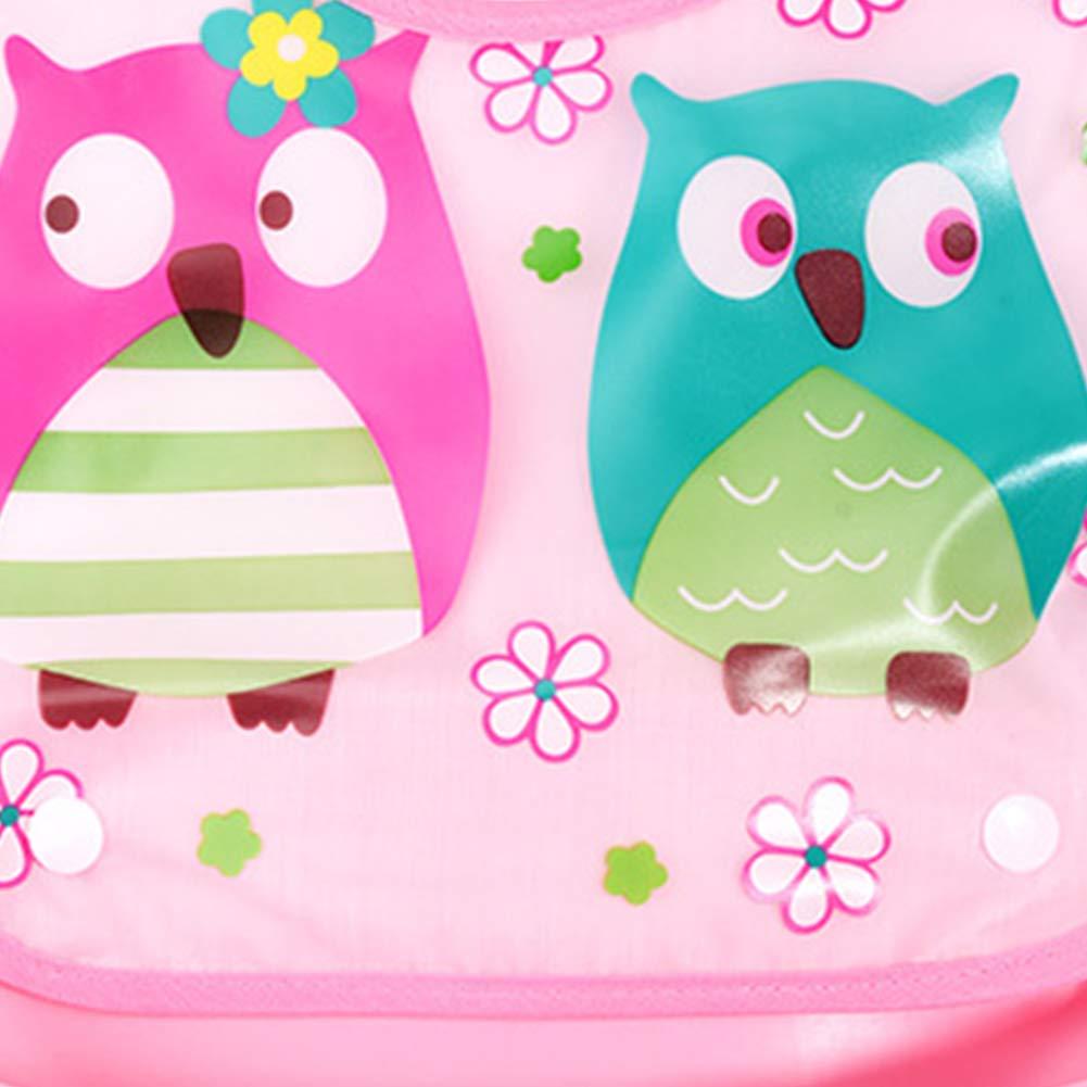 Deanyi Bavaglino neonato impermeabile in silicone Bavaglino morbido sveglio con i vari stili BPA-free Pocket cattura alimenti per neonati pi/ù piccoli neonati Pink Owl Prodotto per bambini