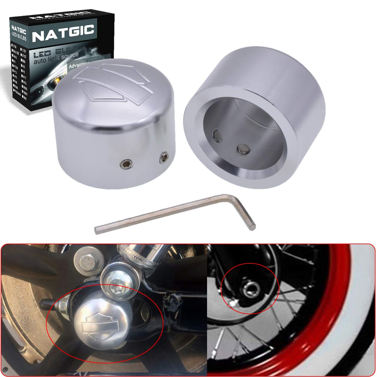 NATGIC Chrome(Silver) Front Axle Nut Cover Axle Caps for Harley Softail Electra Road Glides Sportster - Set