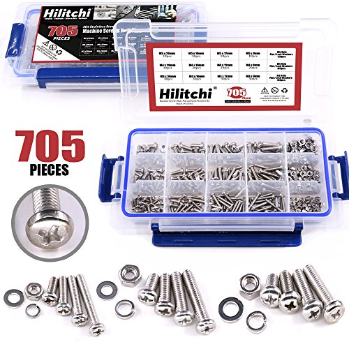 Hilitchi 705-Pcs M3 M4 M5 Phillips Pan Round Head Machine Screws Bolts Nuts Flat and Lock Washers Assortment Kit, 304 Stainless Steel, 8 to 20mm Length, Full Thread - Machine Screw Washer