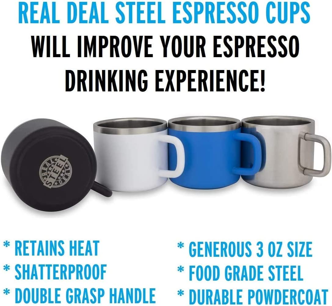 Demitasse Stainless Steel Espresso Cups: Set of 4 Blue Double Wall Insulated 3 Ounce Small Metal Cups with Handle Keeps Espresso Hot Shatterproof