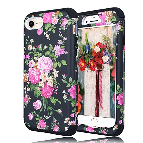 Slicone Floral iPhone 8 Plus Case for Women, iPhone 7 Plus Case for Women, Slim Cute Phone Protective Case Heavy Duty 3-in-1 PC + Silicone Drop-Resistance Scratch-Resistance Shockproof Cover (Black)