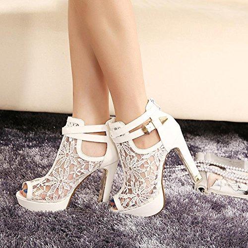 GetmorebeautyUpdate mujer de tacón blanco Zapatos AraTq7wA