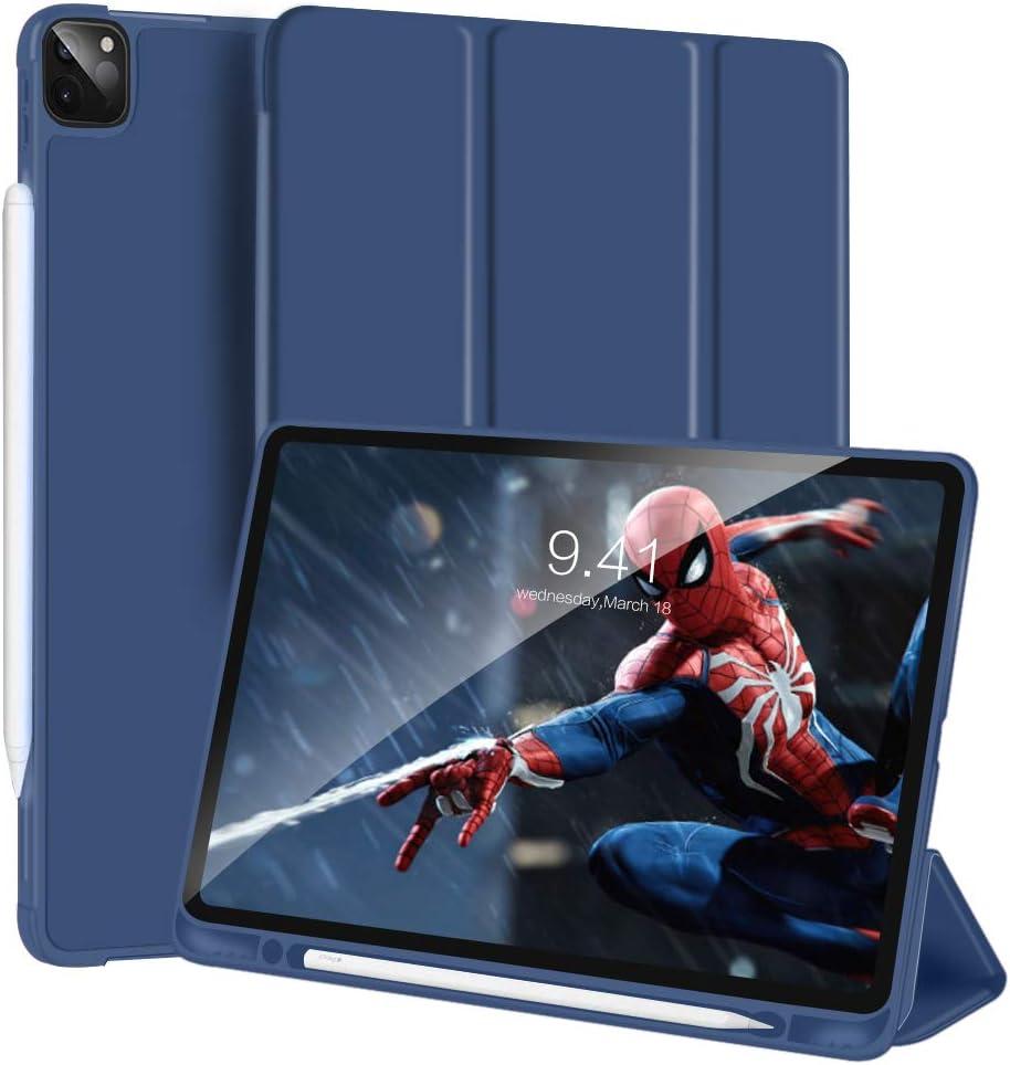 GANGXUN Funda para iPad Pro 11 Pulgadas 2020/2018, Folio Smart Magnética Cover Inteligente Triple con Función de Auto-Sueño/Estela, Soporte de Apple Pencil 2ª generación de Carga (azul marino)