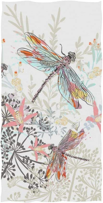 Bath Towel Dragonfly Watercolor