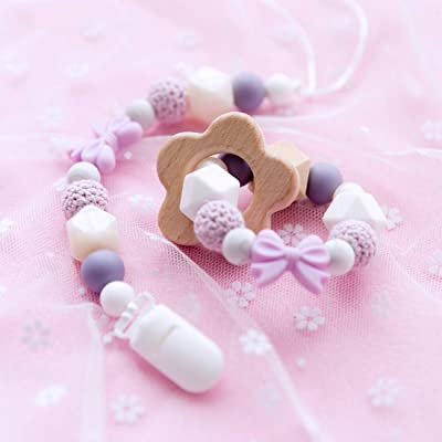 Baby Teether 2pcs BPA Free Silicone Purple Bow Decorated Universal Pacifier Clip & Wooden Flower Pendant Crochet Beads Bracelet Safe and Ecofriendly Soother Clip: Toys & Games