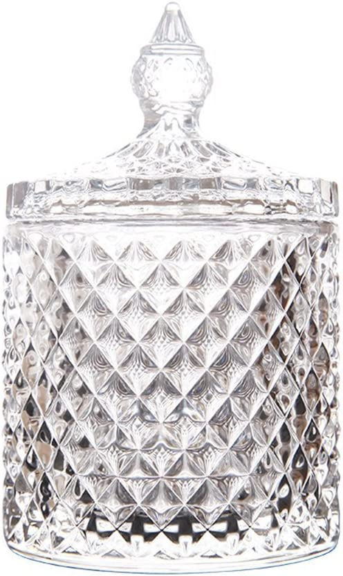Rainie Love Home Basic Food Storage Organization Set-Crystal Diamond Faceted Jar With Crystal Lid,Suitable as A Candy Dish,Cookie Tin,Biscuit Barrel,Decorative Candy Jar (Transparent, 16 oz)